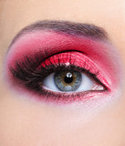 Make-up of woman eye with red  eyeshadow poster