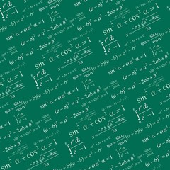 Seamlessly vector wallpaper mathematics on green blackboard