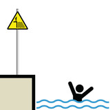 Warning hazard sign and signage man drowning poster