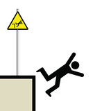 Warning hazard sign and signage man falling poster