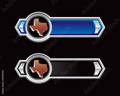 Texas icon on blue and black arrows