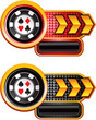 casino chip on arrow banners