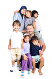 Young muslim family with many members isolated poster