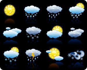Weather_black background icon set
