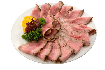 roast meat on white plate
