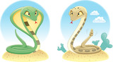 Two Snakes: Cobra and Pit Viper with background. poster