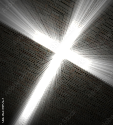 3d fine image, Christian cross of light background