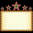 Blank movie, theater or casino marquee with neon stars