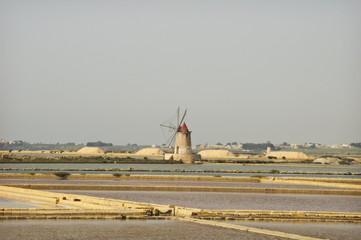 saltworks in sicily, italy