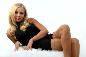 beautiful blond woman lying