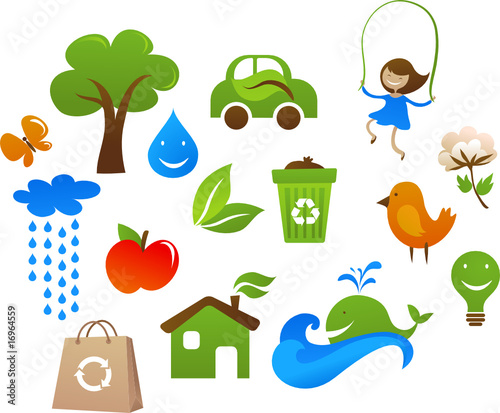 ecology cute, kids icons
