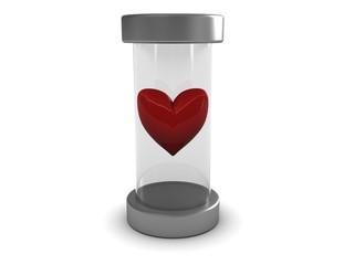 heart in glass