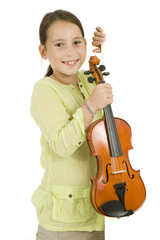 young girl with violin on a white banner isolated on white