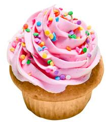 Pink Vanilla Cupcake with Rainbow Sprinkles