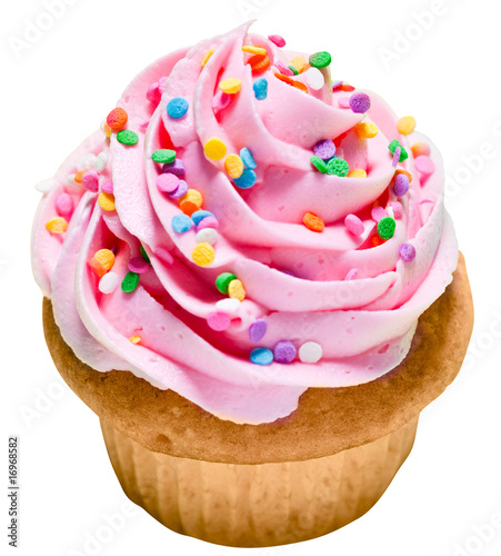 Pink Vanilla Cupcake with Rainbow Sprinkles