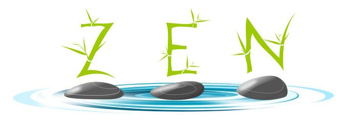 Zen mot bambou galet eau