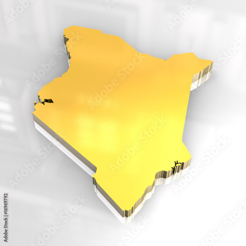 3d golden flag of Kenya