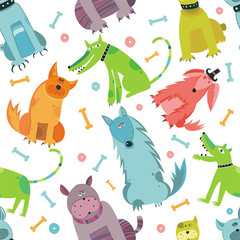 Seamless Funny vector dogs.