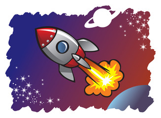 Cartoon style spaceshipblasting off into the space, vector