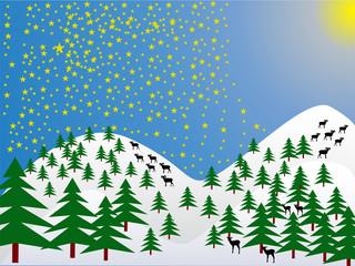 Steinbock-Wolf-Rehkitz-Silhouette im winterlichen Wald