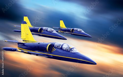 przelot-trzech-samolotow,-mysliwce,-tlo,-plakat