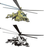 Vector cartoon russian strike helicopter
