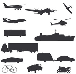 vector transportation silhouettes