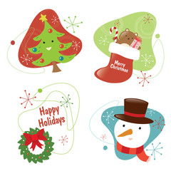 Retro Christmas Set 2 Isolated
