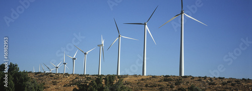 Row of wind turbines in desert