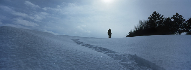 Person walking in snow