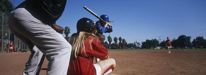 Girls 13-17 playing baseball