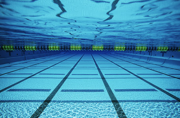Empty swimming pool, underwater view