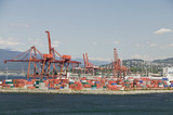Cranes and cargo containers in Vancouver Harbour, British Columbia