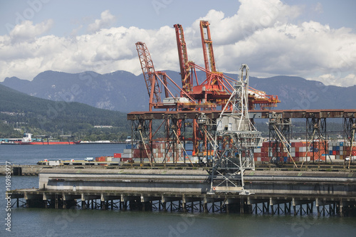 Cranes on pier of Vancouver Harbour, British Columbia