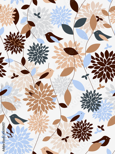 Plants and birds seamless pattern