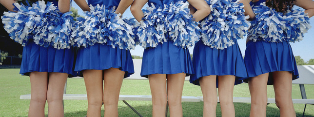 Five cheerleaders in row, back view, mid section