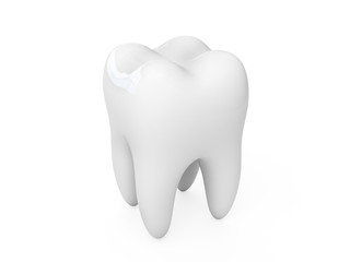 3d tooth isolated on white background.
