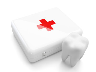 3d tooth with first aid kit isolated on white background.
