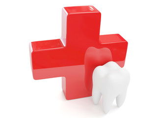 3d tooth with red cross isolated on white background.