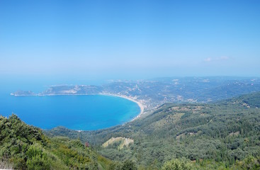 Panoramic view of Agios Giorgios bay from Corfu,  Greece