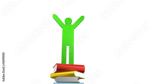 Books and a graduated person icon. Concept of education