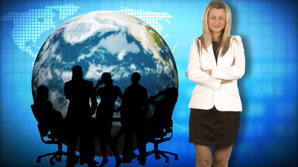 Businesswoman with her team and the world in the background