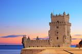 Fototapety Tower of Belem (Torre de Belem), on sunset, Lisbon, Portugal