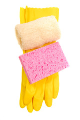 Yellow rubber gloves with sponge and washcloth