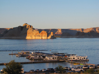 Houseboat on Lake Powell at sunset