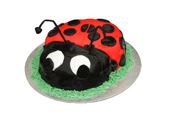 A Cake Decorated as a Black and Red Ladybird.