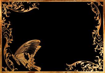 ゴールドの蝶と蔦のフレーム