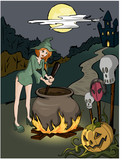 Witch prepares a poison poster