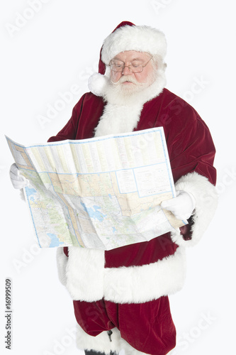 Santa Claus holding map