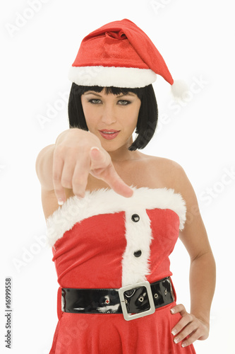 Mrs Claus pointing at camera